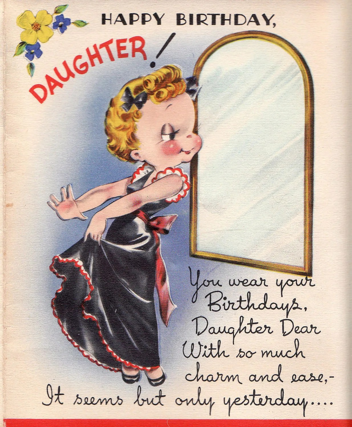 Vintage 1950s UNUSED Happy Birthday Daughter Greetings Card