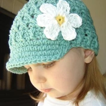 Baby Daisy Visor Beanie - seaspray, yellow, white