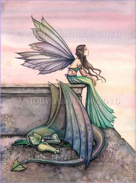 Fairy Dragon Art Print by Molly Harrison 'Enchanted