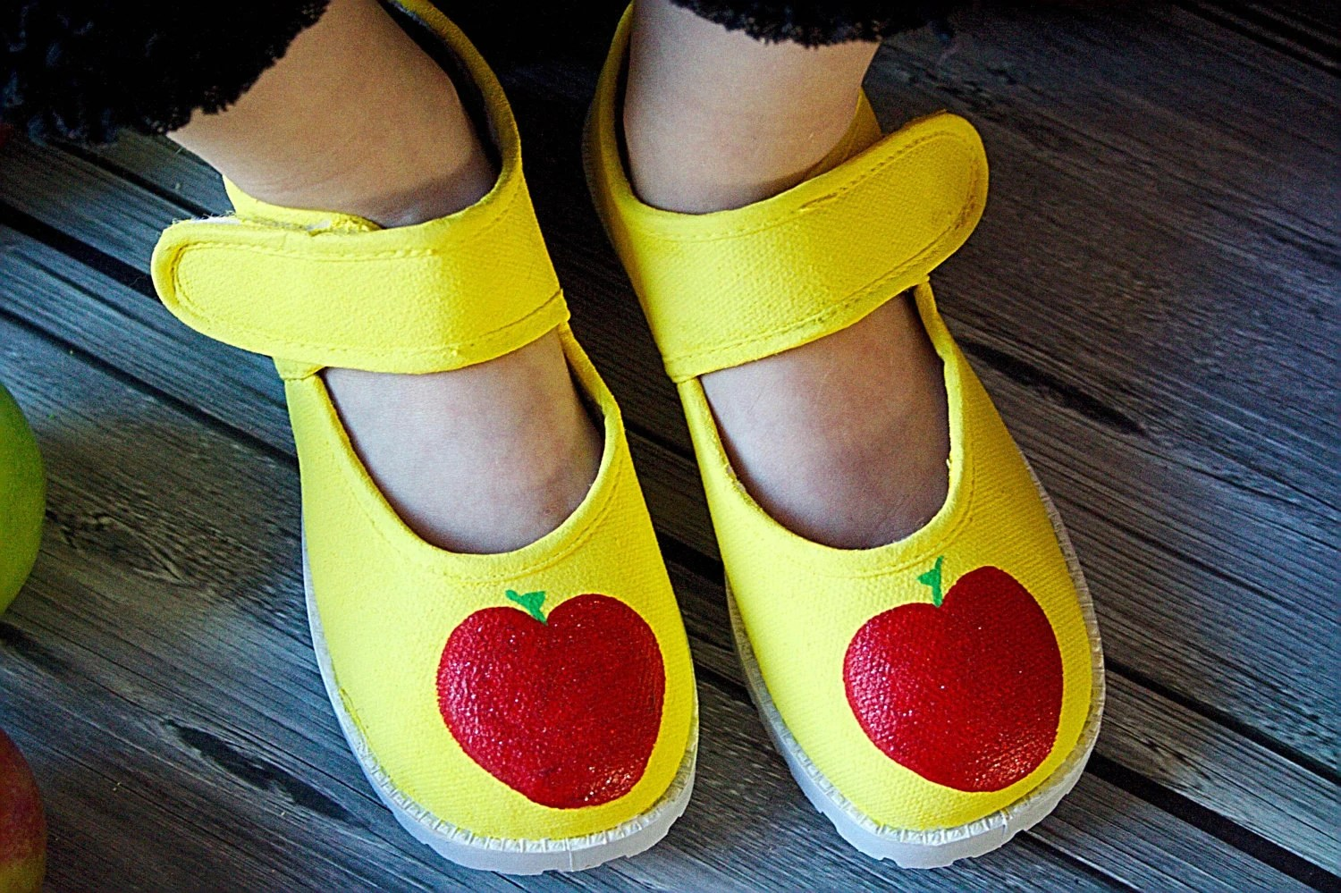 Snow White Apple Shoes - Fully Hand painted red apples on yellow  maryjane shoe for girls - baby or toddler  Disney Shoes