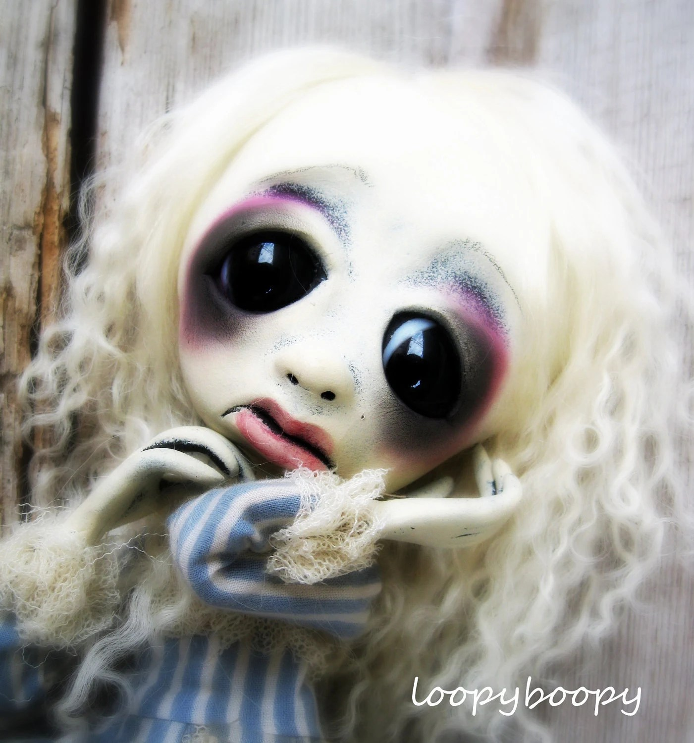 Loopy Goth Ooak Art Doll Fine Art Giclee Print Winter White