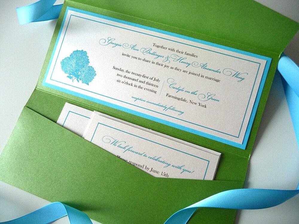 Hydrangea Silhouette Tea Length Wedding Invitations OnePaperHeart Station