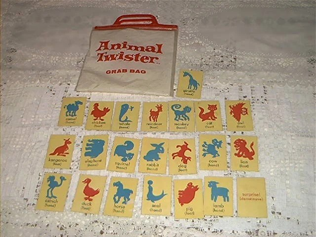 VINTAGE ANIMAL TWISTER GAME CARDS AND BAG