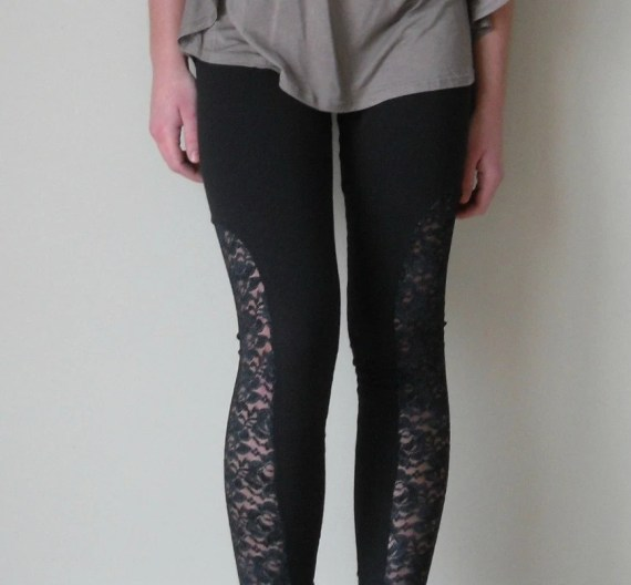 Riding leggings.  Black lace and black jersey.  xs, s, m, l - birdapparel