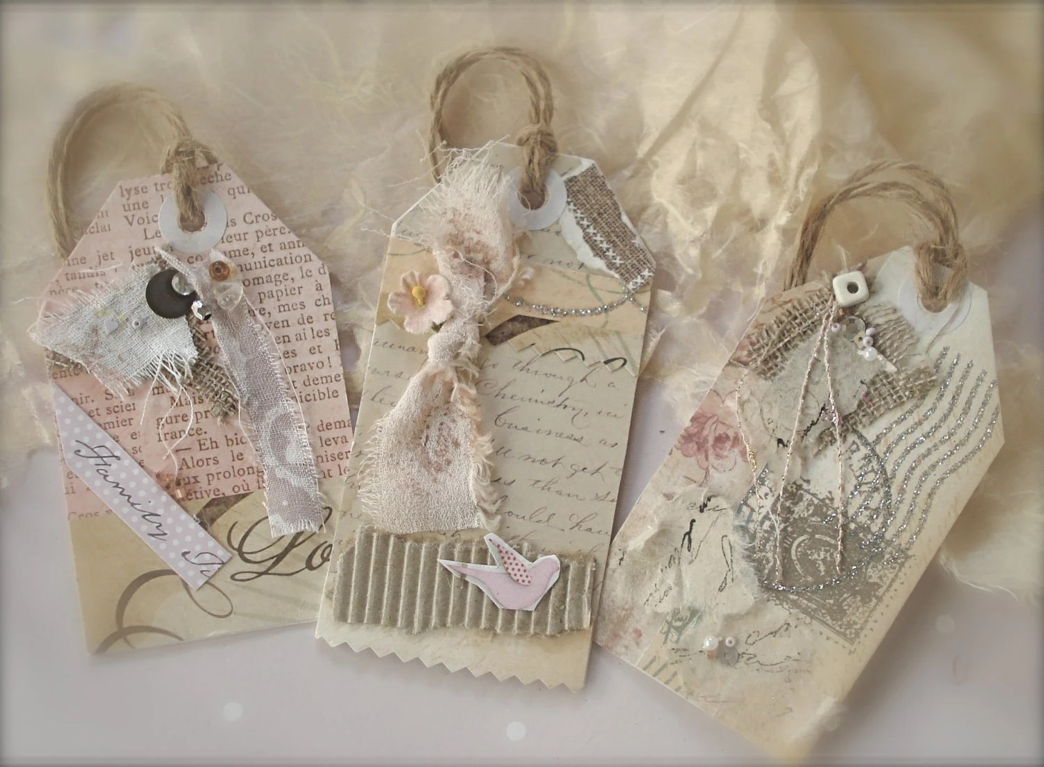 12 Vintage Themed Wedding Tags FRENCH Shabby Chic By