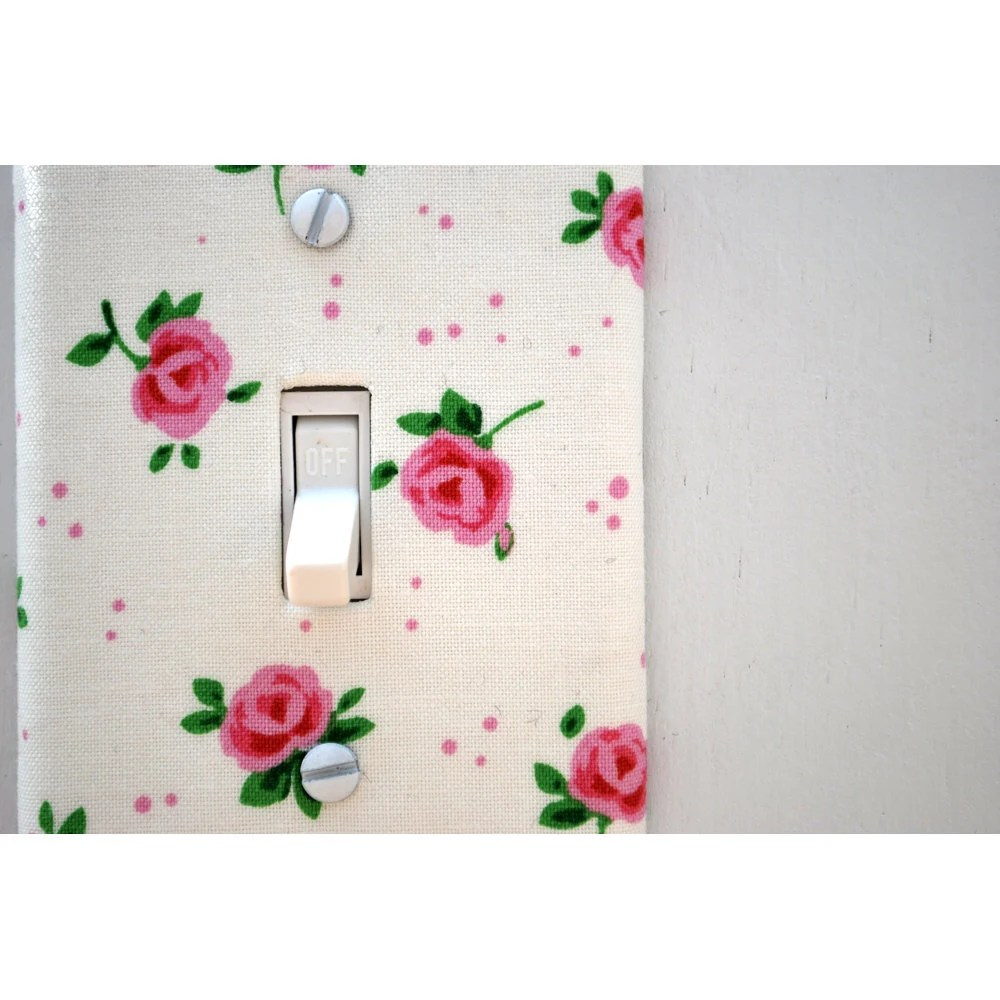 Light Switch Plate Cover, wall decor - off white with pink roses, floral, natural, nature, feminine, girlie, shabby chic, sweet - maisonwares