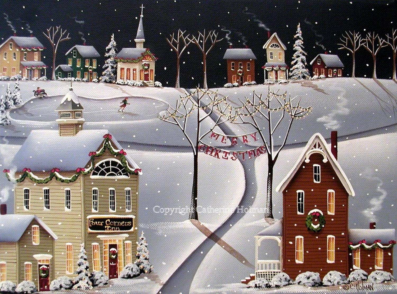 Down Home Christmas Folk Art Print