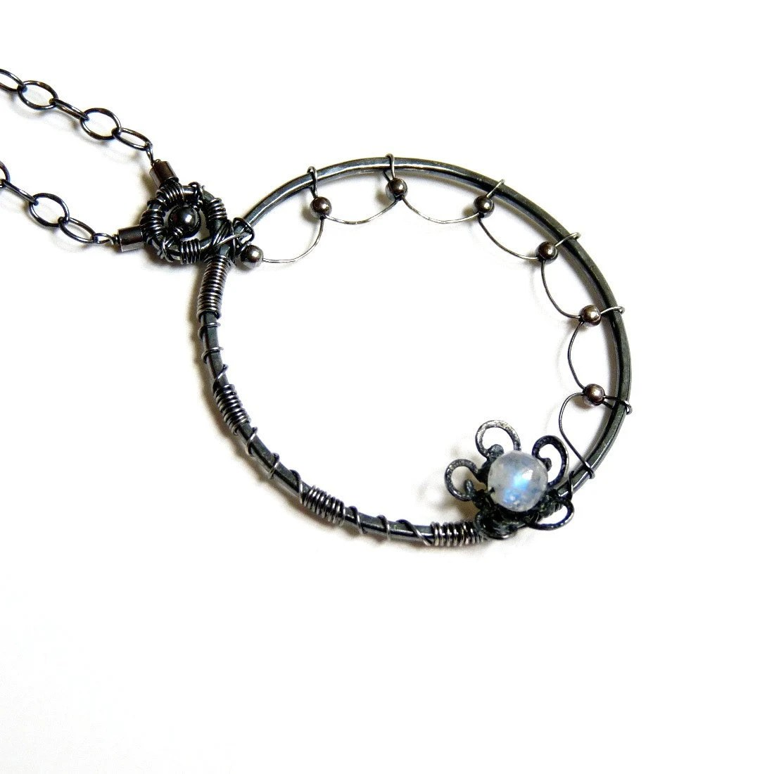 Antiqued Sterling Silver Rainbow Moonstone Wire Wrapped