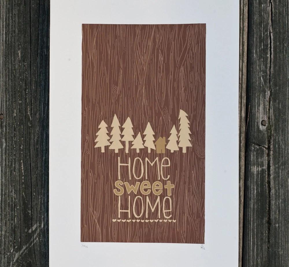 home sweet home woodgrain print - exit343design