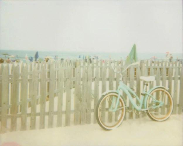 Retro Beach Bicycle - 5x7 Polaroid Print - Seafoam Green Beach Cruiser Bike Ocean Summer Vacation - jenaardell