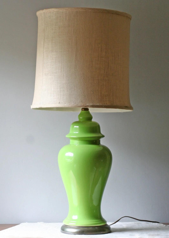 Lime Green Table Lamp Ceramic Ginger Jar Hollywood