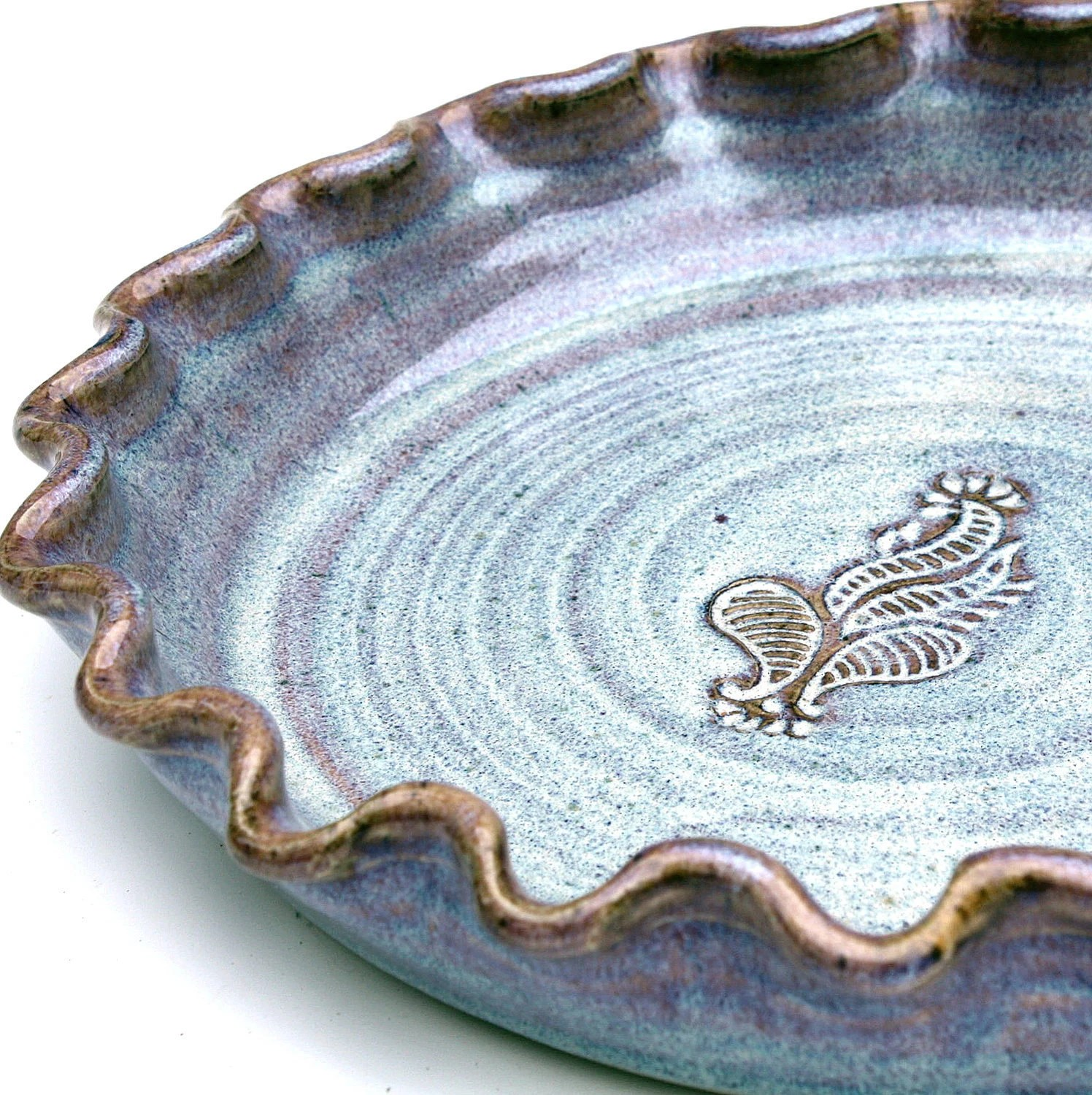 Pottery Pie Plate Quiche Baking Dish, Larger size
