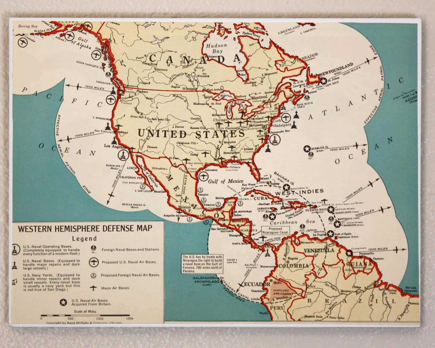 Western Hemisphere Defense Map Atlas Page 9x12