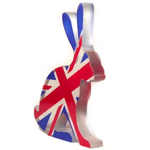 Britannia Hare Glass Sculpture Screen Printed Enamel