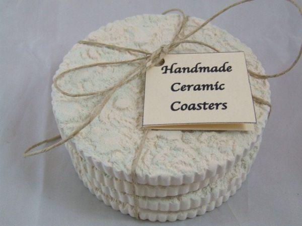 White Knit Ceramic Coasters