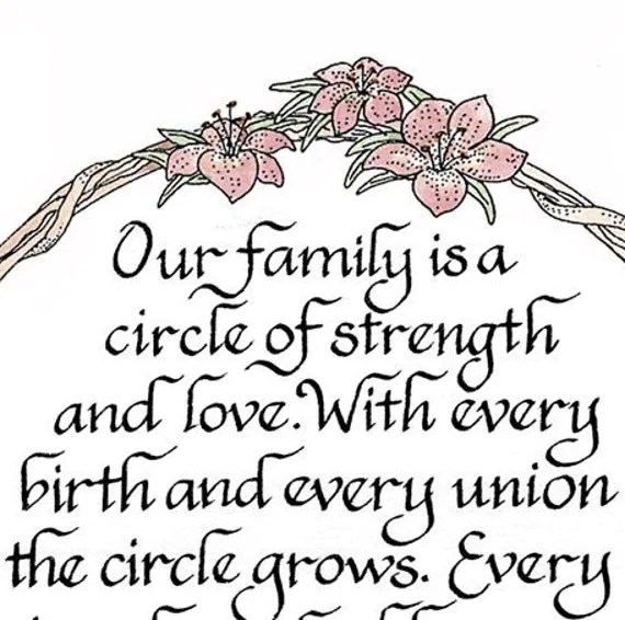 Download Our family is a circle of strength and love 8x10 calligraphy
