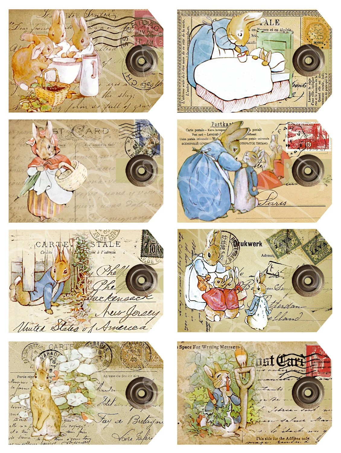 8 Postcard Tags From The Tale Of Peter Rabbit By Boxesbybrkr