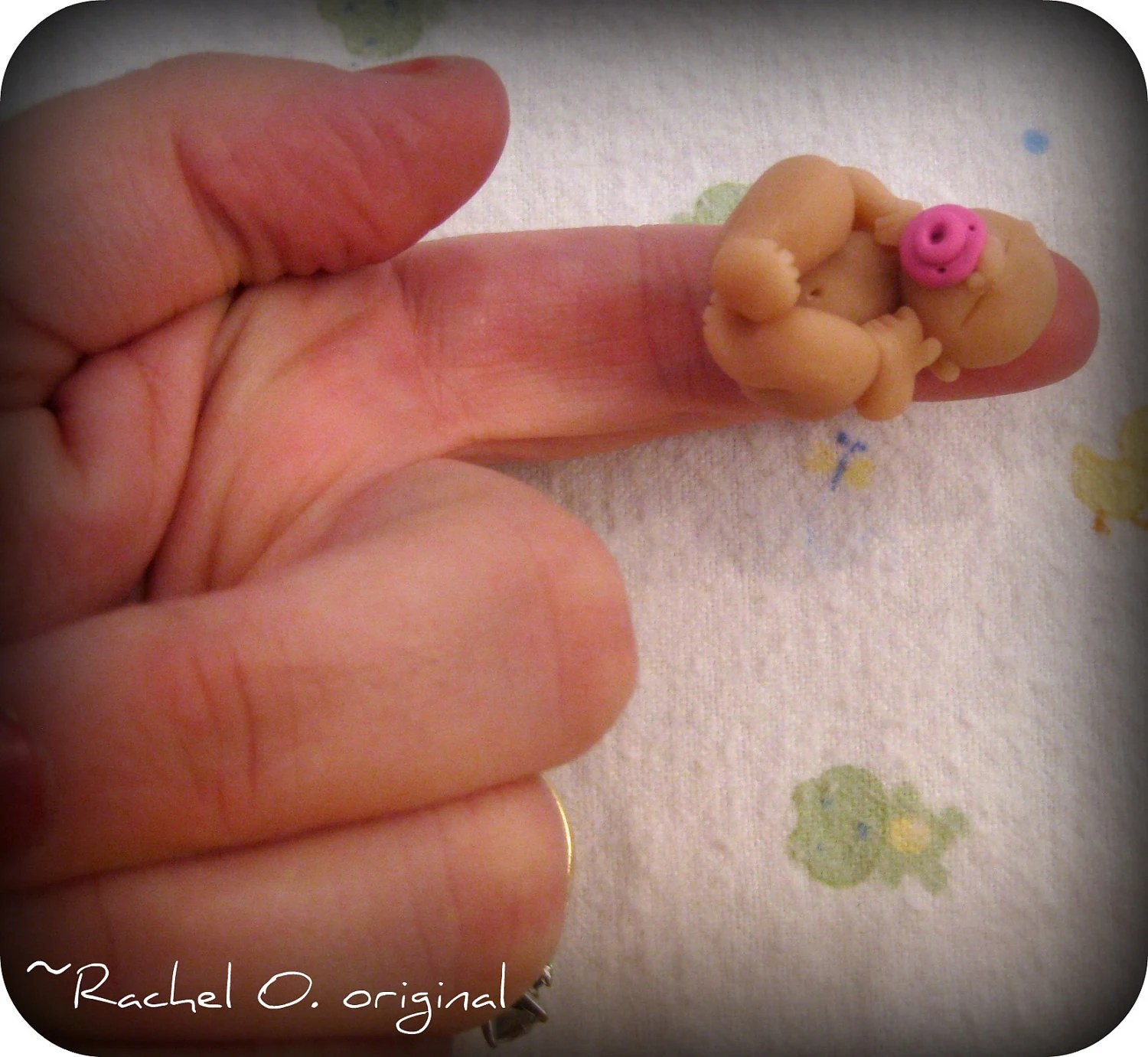 SALE was 10.00 Teeny Tiny Hand sculpted polymer clay 1 inch baby girl - CuteNclay