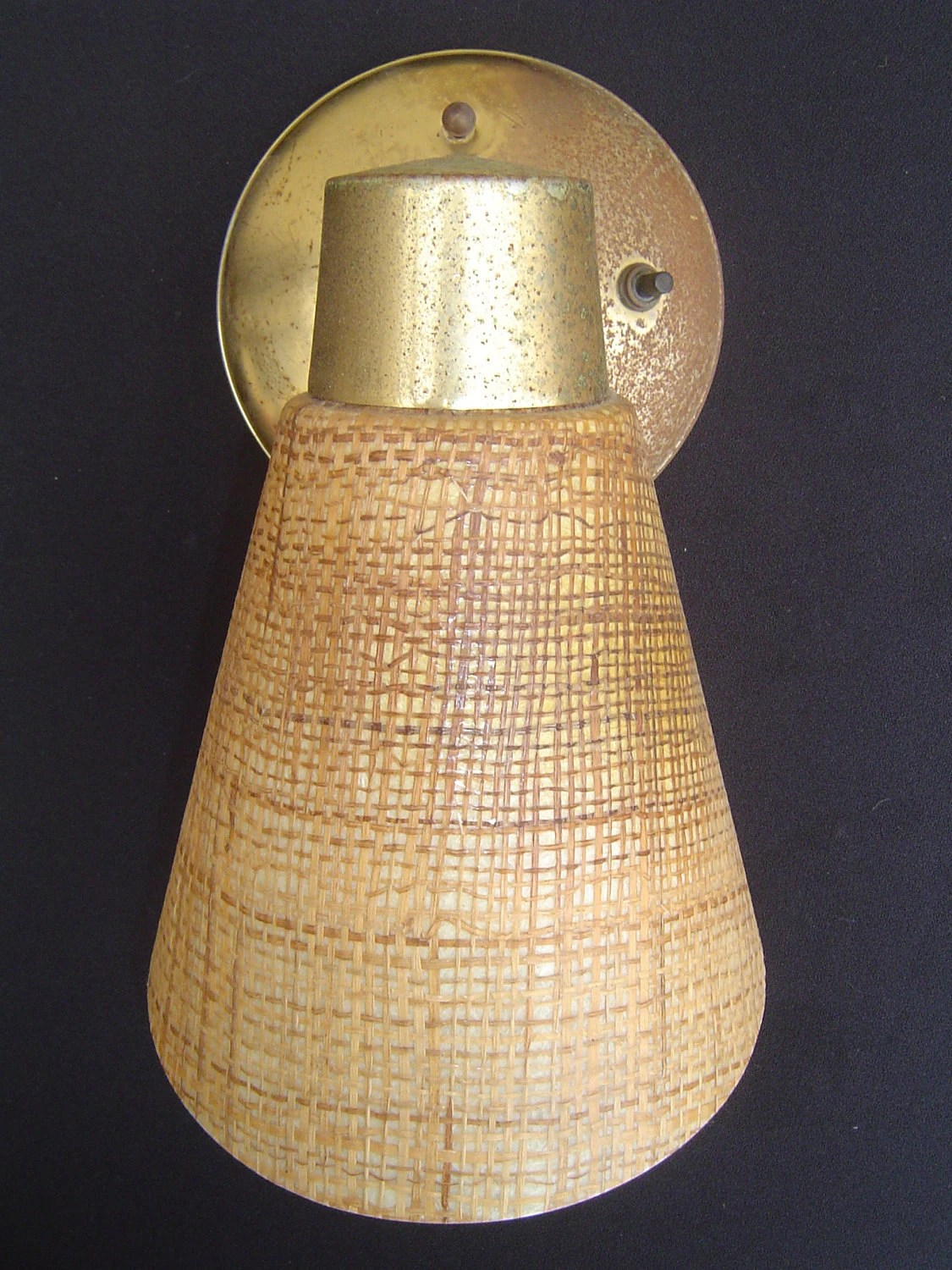 Mid Century Danish Modern Wall Sconce with Tweed like Cone on Mid Century Modern Sconces id=20726