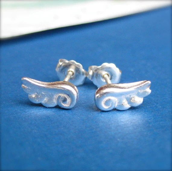 Silver Angel Wings Stud Earrings, Small Silver Stud Earrings