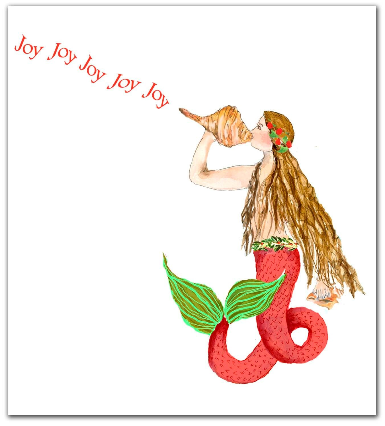 Mermaid Christmas Cardsnautical Christmas Cards By