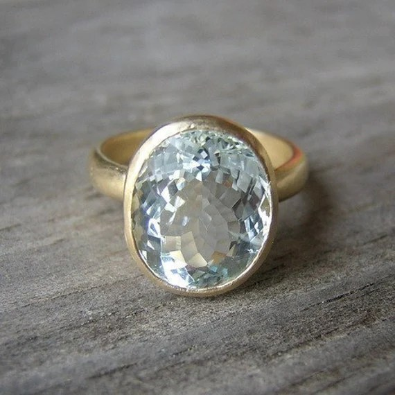 Gold Aquamarine Ring 14k Yellow Gold Oval Stone By