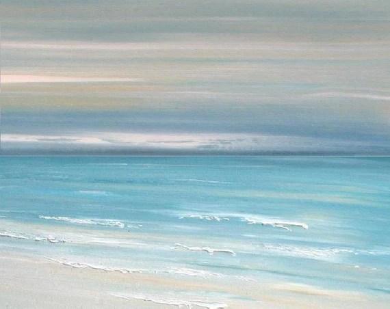 Beach Ocean Art Painting Abstract Beach Ocean Wall Art Print