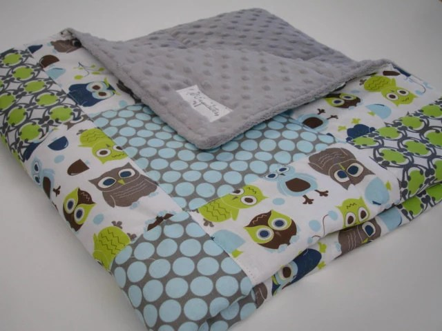 Modern Owls Patchwork Baby Crib  Blanket 32 x 32 MADE TO ORDER