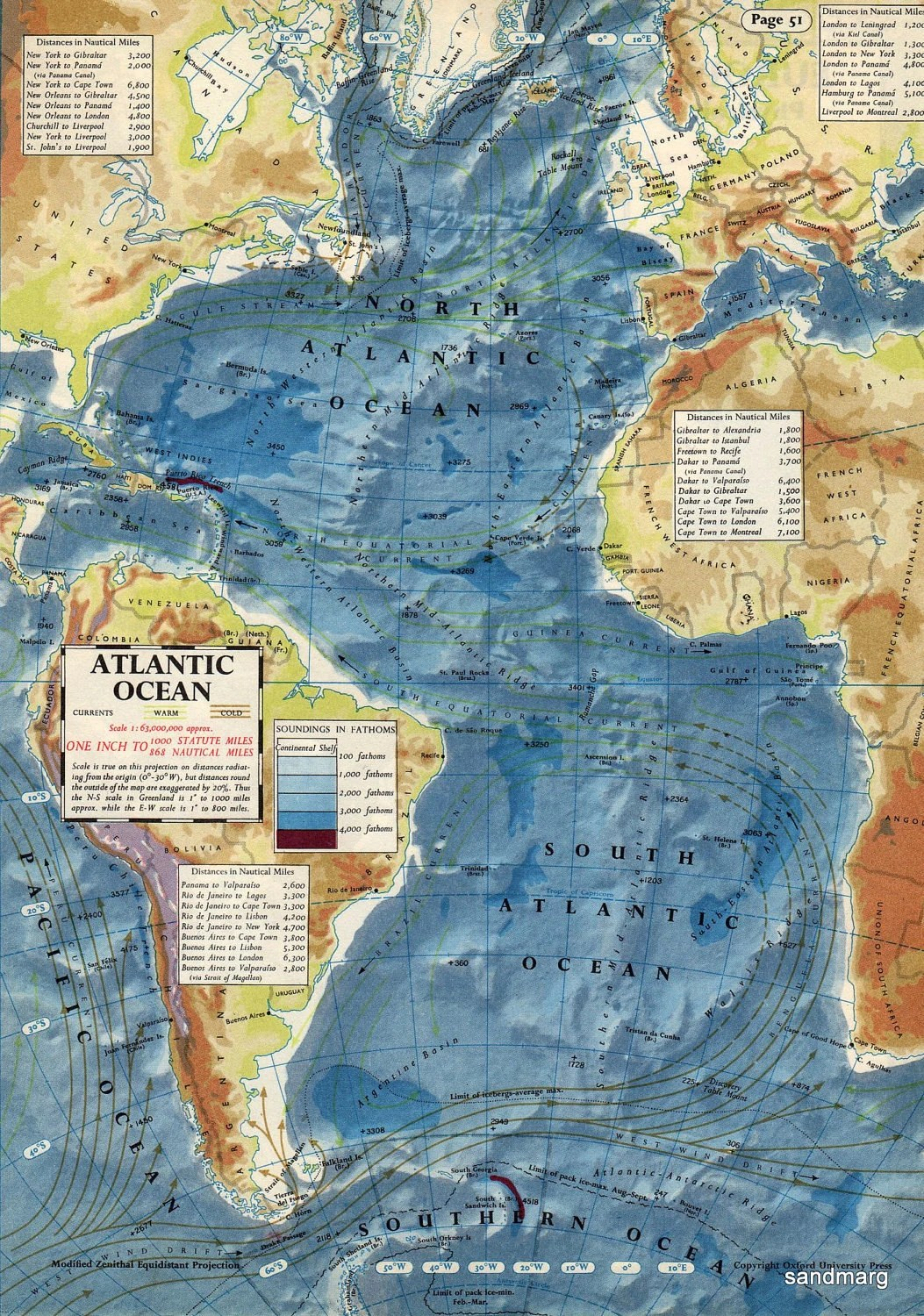 Items Similar To Vintage S Map Of The Atlantic Ocean