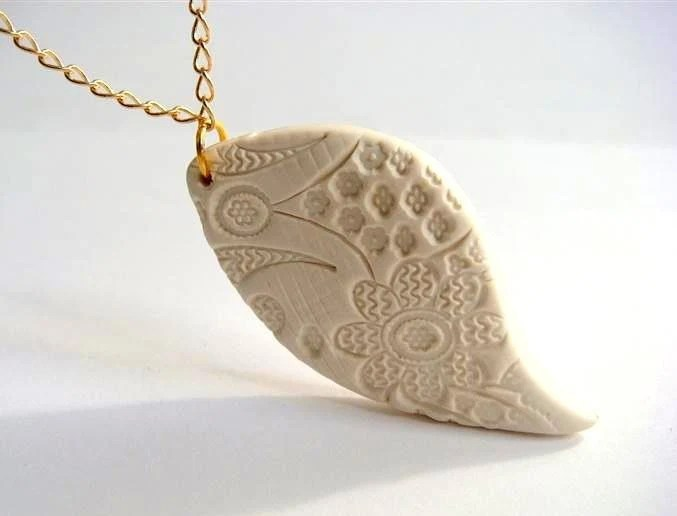 Gift for Mom - Lace  Pendant  Texture in Natural Milky White  Polymer Clay Handmade Jewelry - efiwarsh