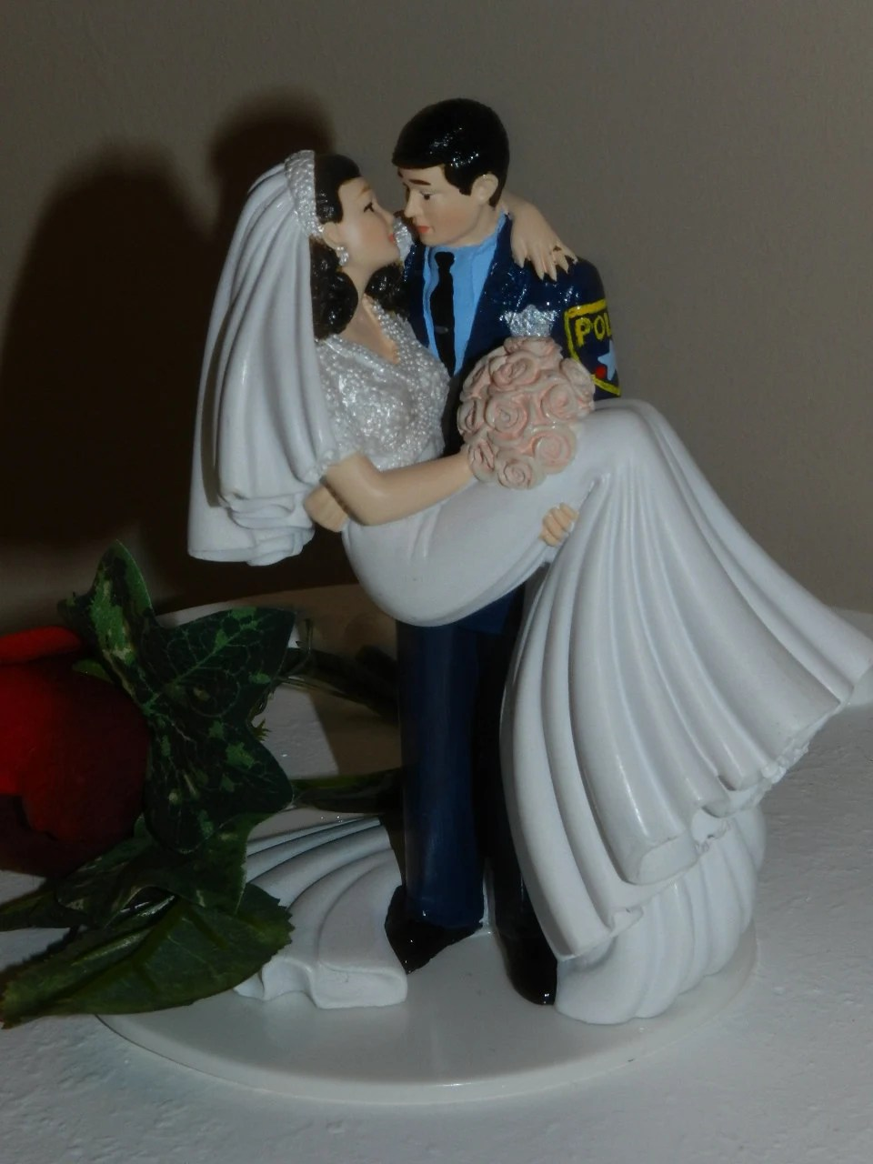 Police Officer Cop Groom Wedding Cake Topper Gun By