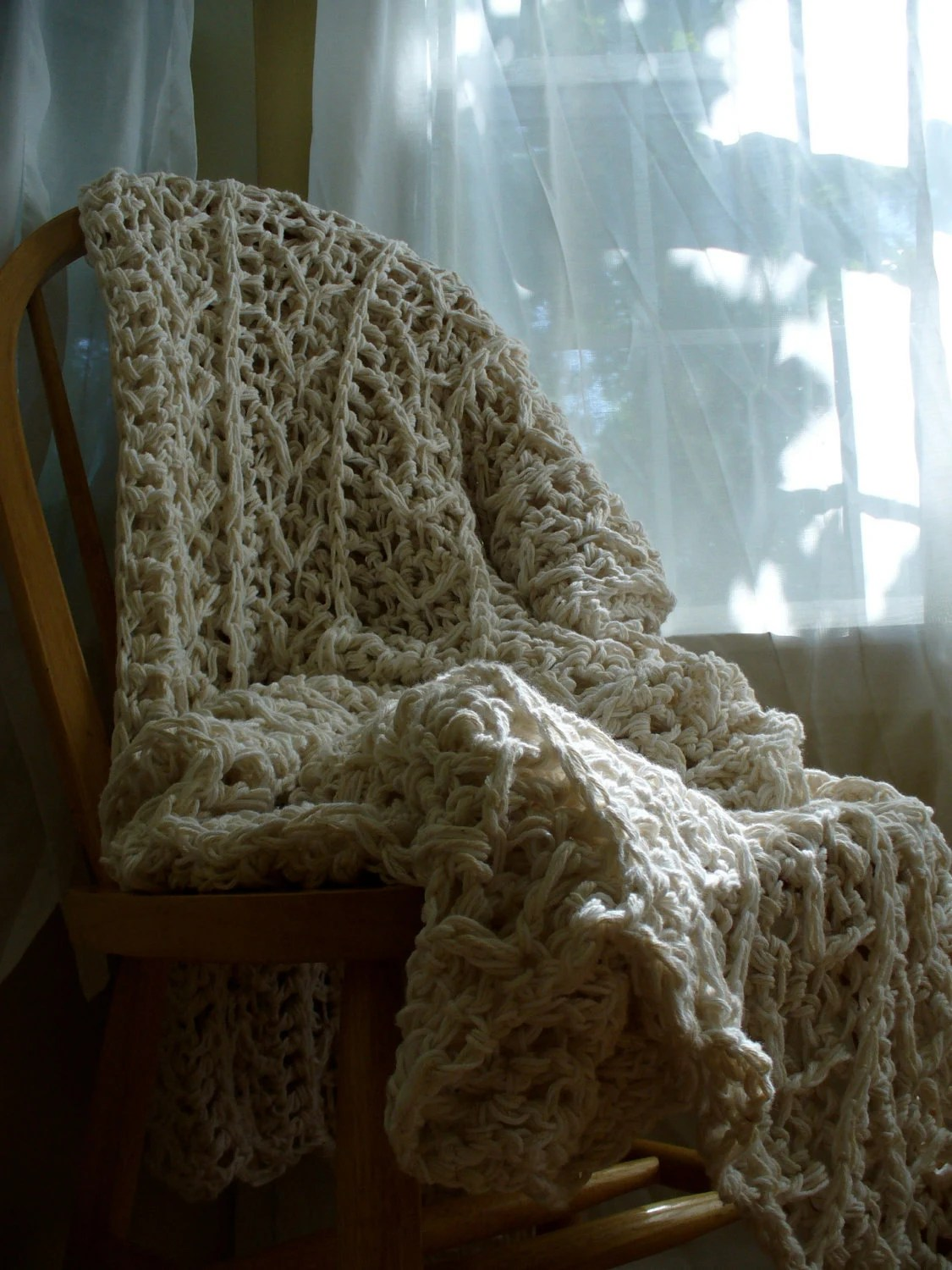 XL White and Cream Crochet Cotton Afghan- Natural - Crochet Cotton Blanket - Crochet Throw Blanket - YarnDarlin
