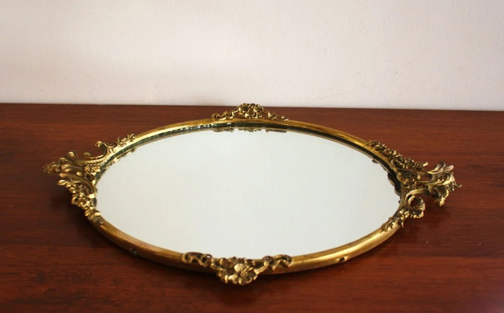 Vintage Brass Mirror Vanity Tray With Gold Frame