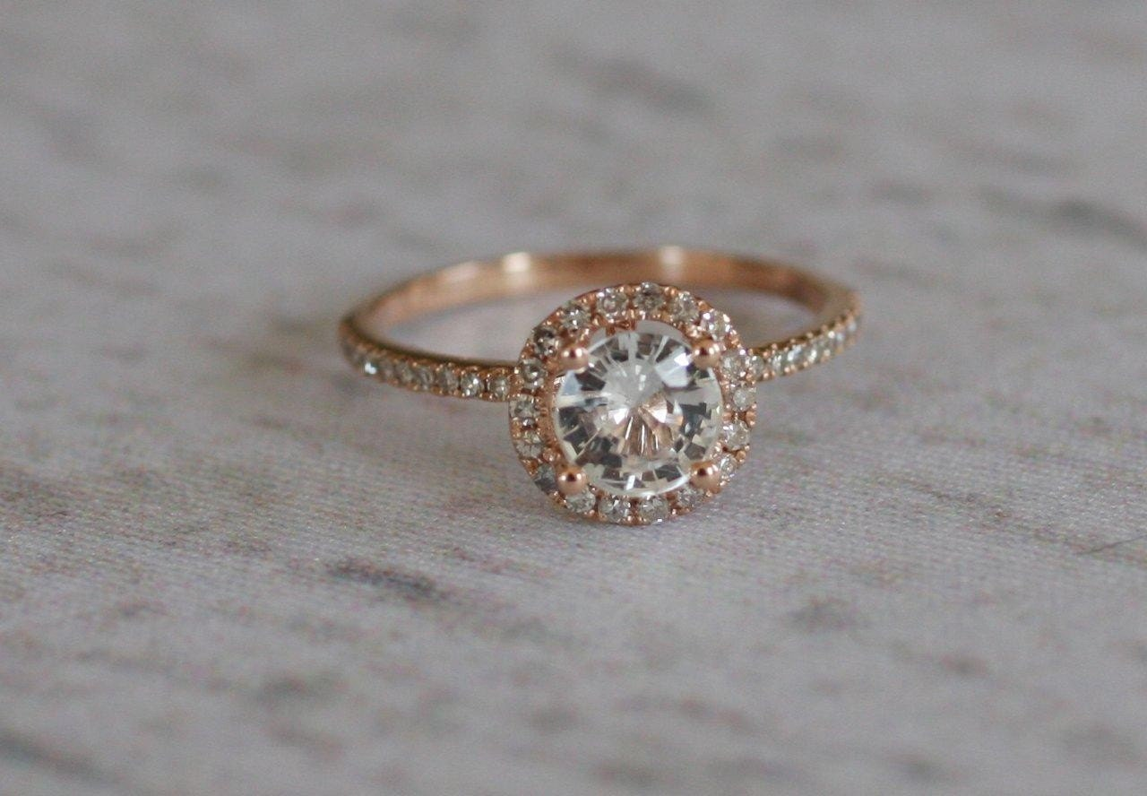 SALE White Sapphire Diamond Ring A 14k Rose Gold Diamond