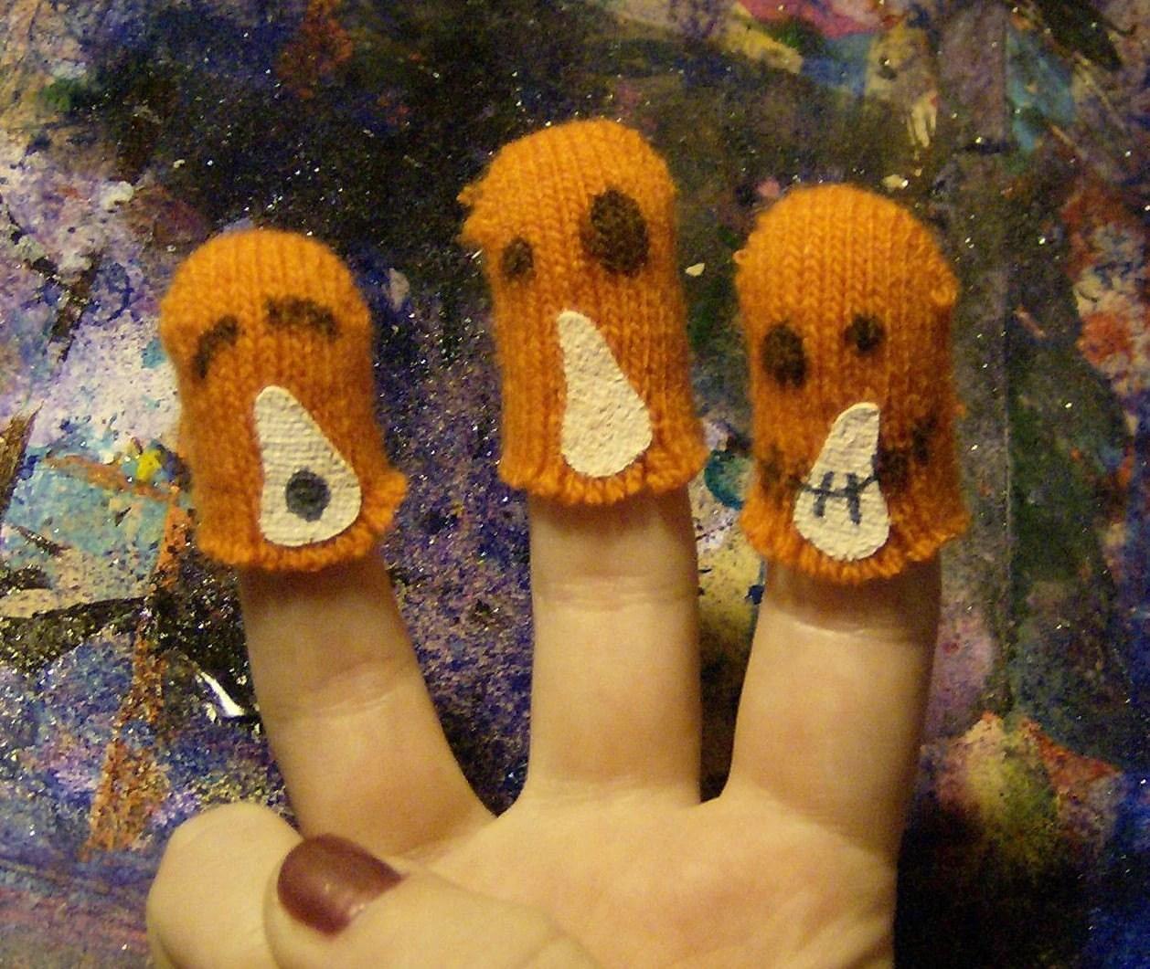 Set Of 3 Jack O Lantern Spooky Fun Finger Puppets