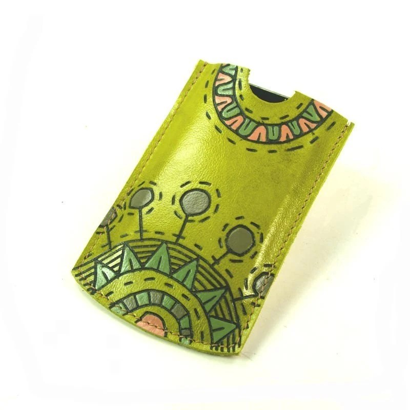 Morning Sunshine - Lime Green Leather Case for Iphone , Itouch , ipod, blackberry - rntn