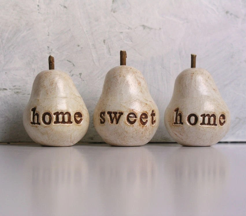 Housewarming gift ... home sweet home ...Three handmade decorative polymer clay pears ... 3 Word Pears, white - SkyeArt