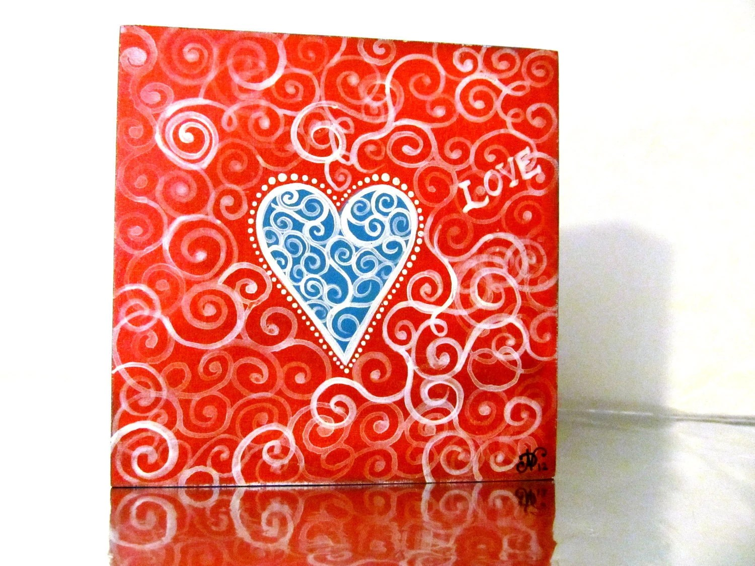 Red with Blue Heart Love small Painting - PearlesPainting