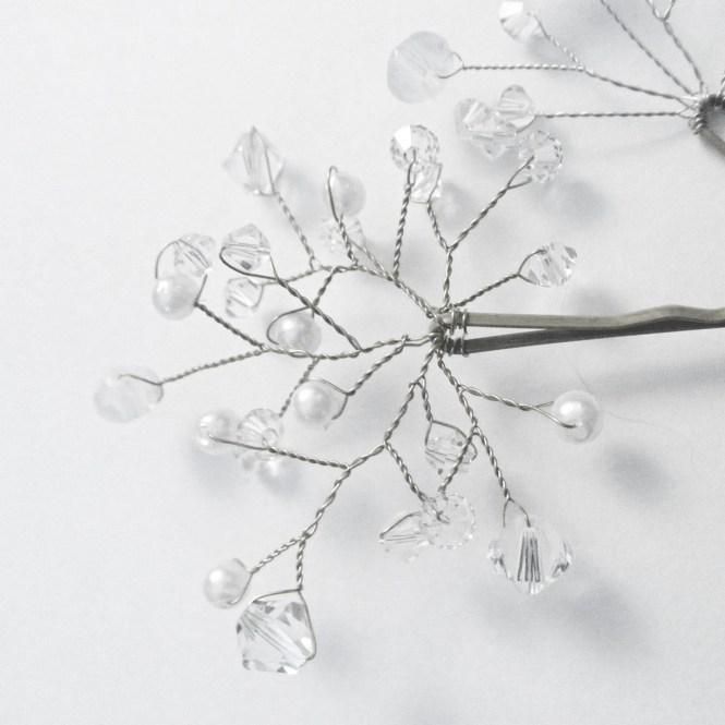 Crystal and Pearl Bobby Pin - Winter Wedding Bridal Swarovski Crystal / Pearl Extra Full Spray Bridal Hair Pin