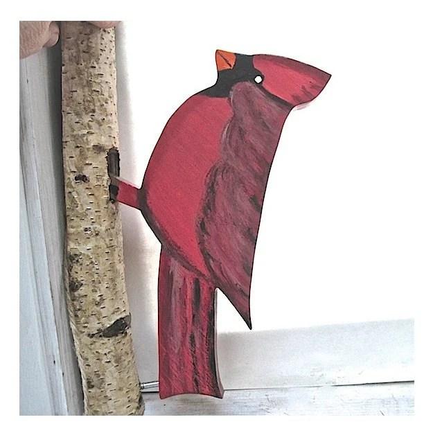 Cardinal Red Bird Door Knocker Primitive Rustic Folk Art Outdoor Home Decor - RoughMagicCreations