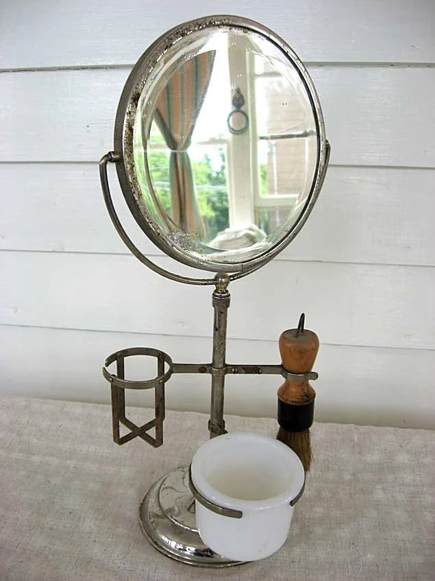 Vintage 1920s Shaving Mirror On Stand W Brush Soap Cup