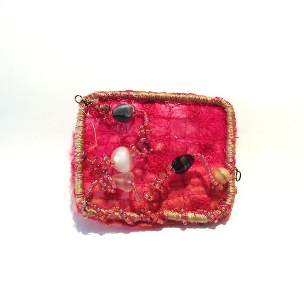 felted pink textile jewellery fibre art brooch with beads peach cobweb felt pin