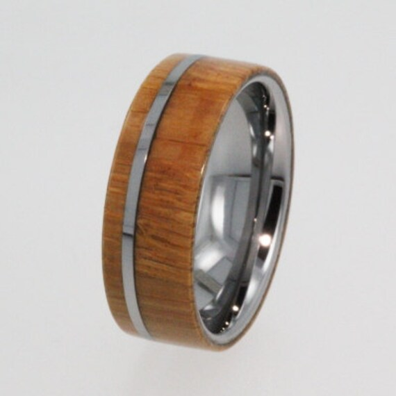 Mens Tungsten Wedding Band Wood Ring With Flat By