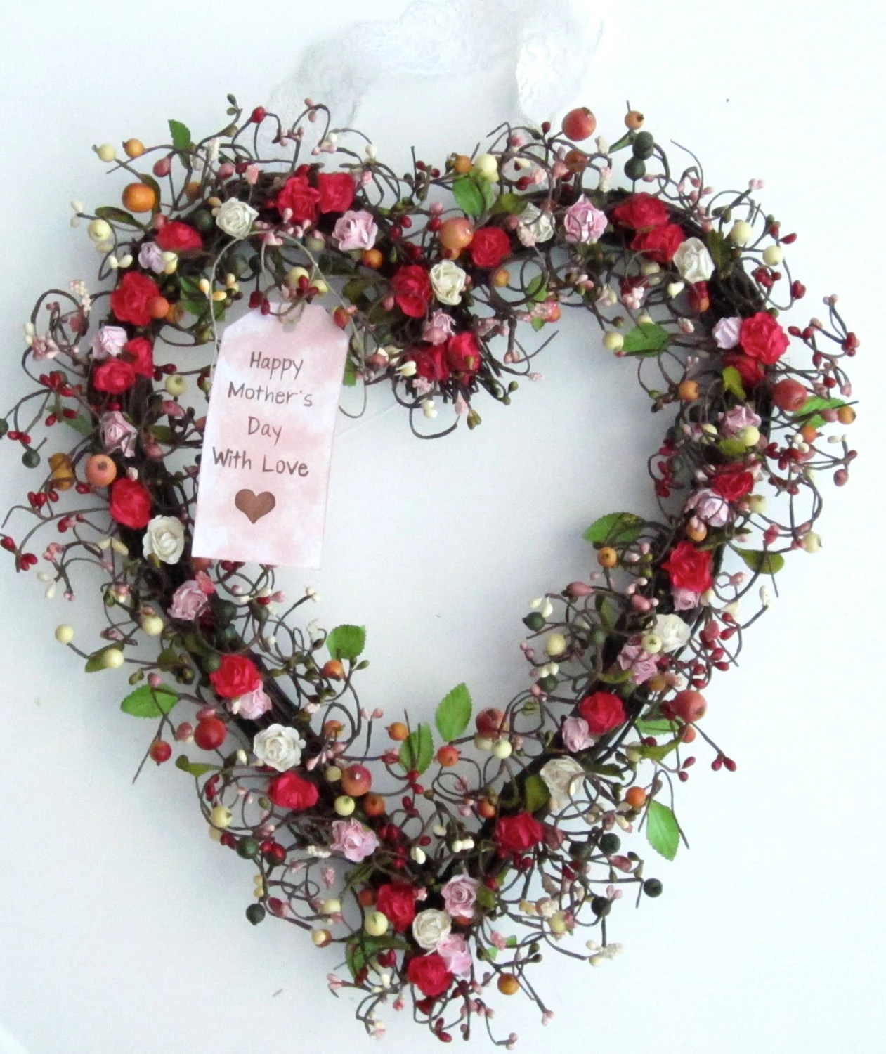 Spring Heart Shaped Wreath Spring Door Decoration With