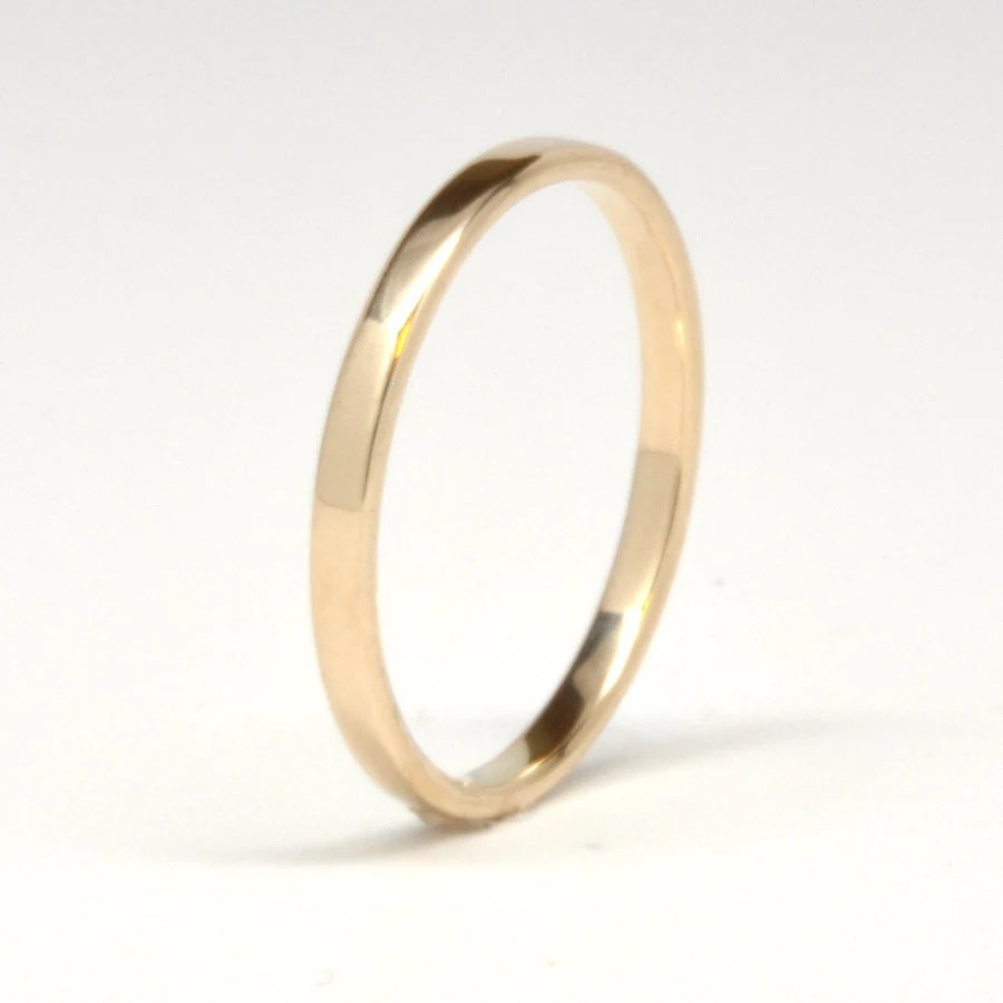 14K Yellow Gold Wedding Band Simple Gold Ring 2mm Stacking