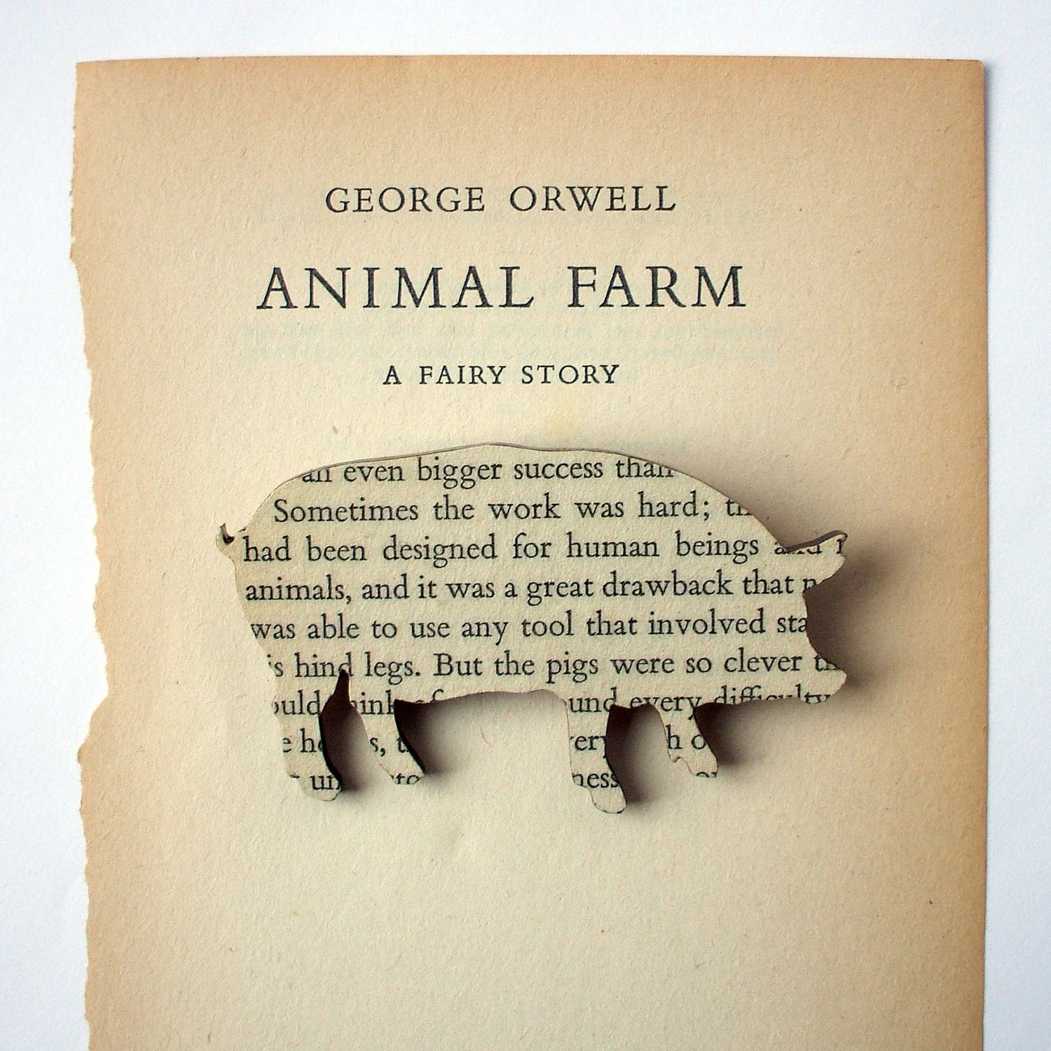 Animal Farm - Pig brooch. Classic book brooches made with original pages.