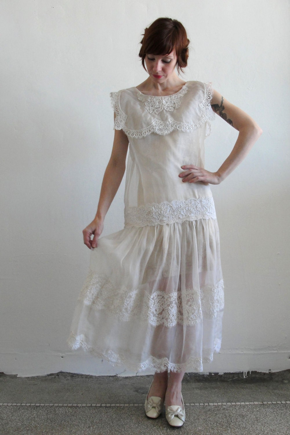 Antique Wedding Dress 1920s Flapper Deco 1900s Edwardian