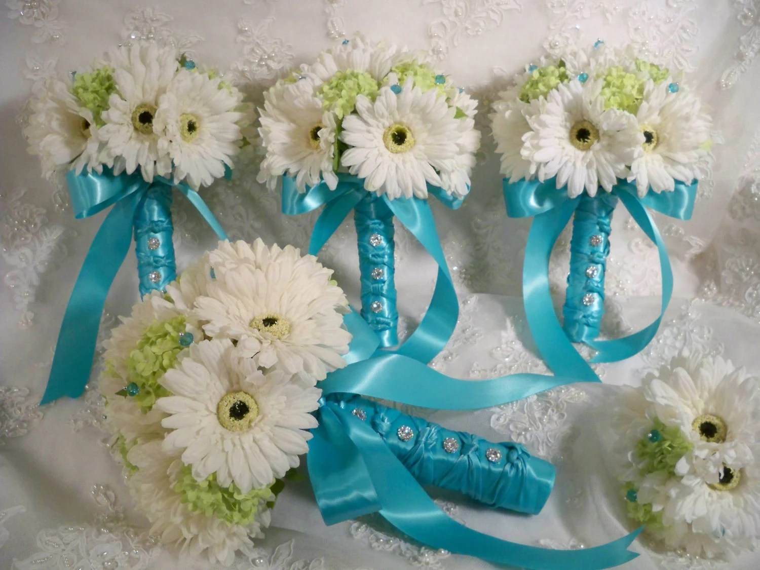 Realtouch Gerbera Daisy Bridal Bouquet Set By Modagefloral