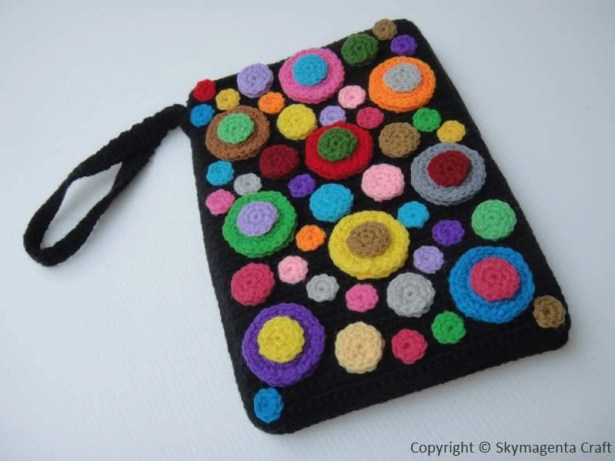 Crochet Pattern - COLORFUL BUBBLE Kindle Cover / Sleeve / Purse (00416)