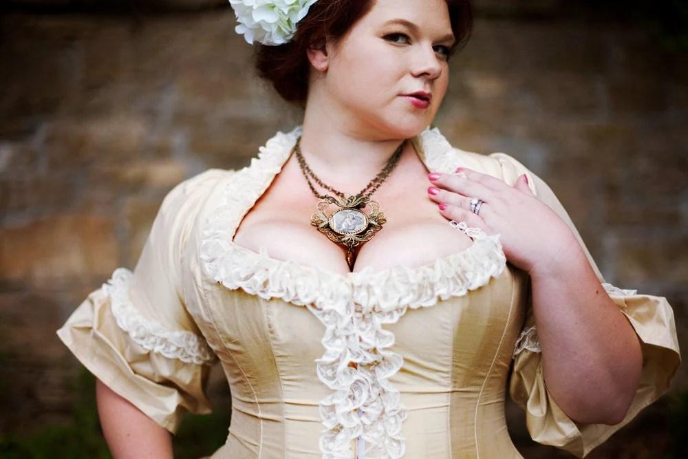 Victorian Wedding Dress Corseted Jacket Steampunk Style Silk